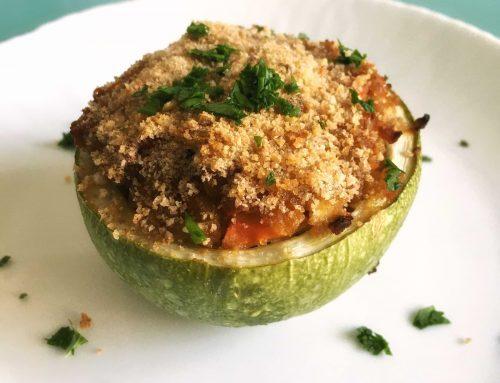 Zucchine ripiene di seitan e verdure